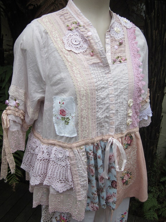 Vintage Kitty... romantic roses, lace, vintage embroidery, pink, doilies, upcycled overtop shirt, ooak.. XL plus size
