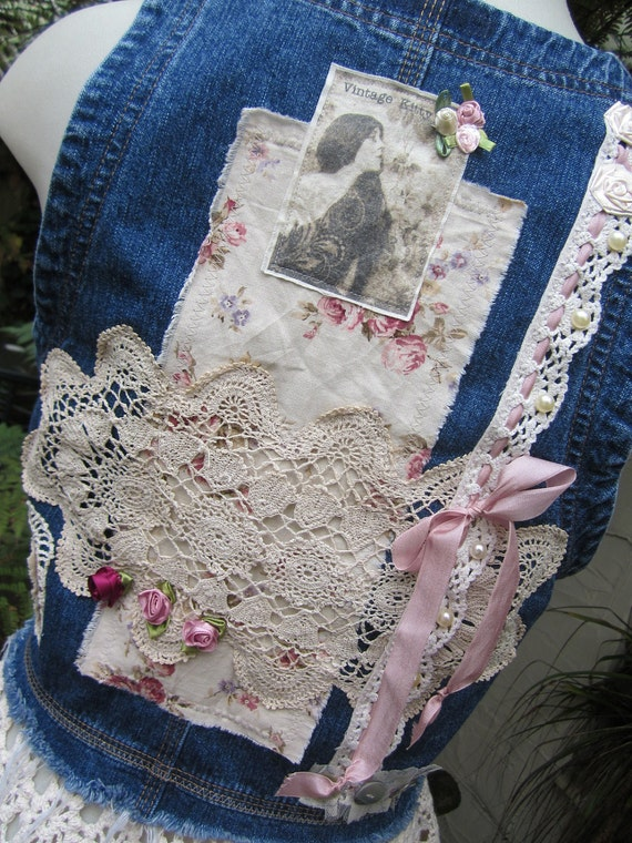 ON HOLD for SHERI... Vintage Kitty.. upcycled denim and crochet.. roses, lace, ooak.. shabby chic, romantic steampunk.. denim vest.. small