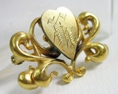 Small Victorian Heart Pin Gold Filled Elongated Old English Engraved Intial H C1900