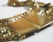 Vintage Art Deco Mesh Belt Gold Tone Glitzy 1920s