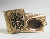 Very Small Victorian Book Locket - Pendant - Antique -1870s - Goth - Black Enamel - White Enamel - Mourning