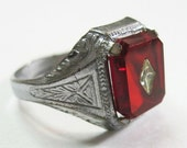 Art Deco Men's Ring Vintage 1930s Ruby Red Celluloid Stone Size 9.5 Costume Ring Unisex