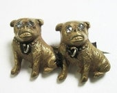TINY Edwardian Dogs Pin Brooch - Pugs - Bulldogs -Animal - Gold Gilt - Antique - Vintage - C1905