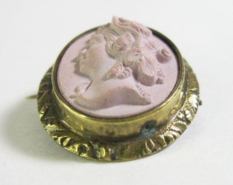 Antique Victorian Cameo Brooch - Pink - Blush - Pale Dusty Rose - Antique Jewelry - 1860s - 19th Century