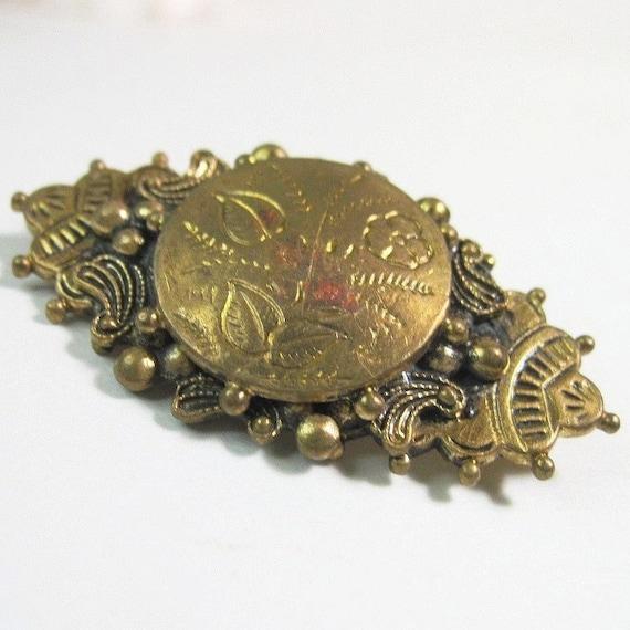 Vintage 1930s Brooch - Pin - Victorian Revival - Flowers - Brass