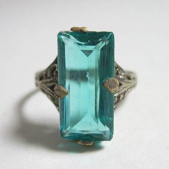 Vintage 1920s Art Deco Ring Faux Aquamarine Silver Filigree