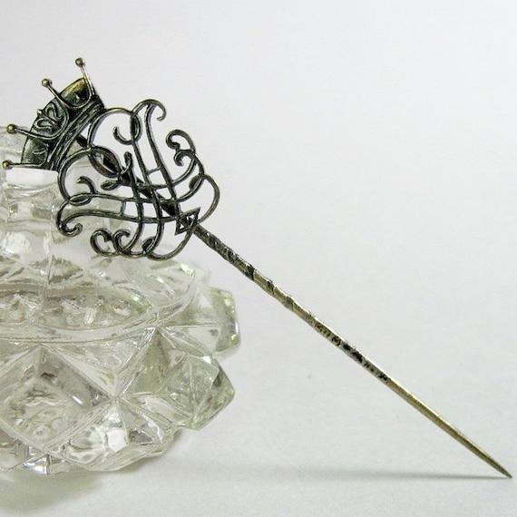 Antique Victorian Crown Stickpin Pin Brooch Vintage Fleur De Lis Sterling Silver Hallmarked 1890s
