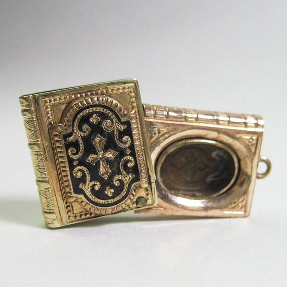 Very Small Victorian Book Locket - Pendant - Antique -1870s - Goth - Black Enamel - White Enamel - Mourning
