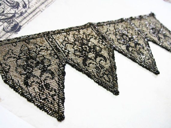 Two Antique Victorian to Edwardian Micro Beaded Panels Triangles Geometric Goth Each 7 x 3 Inches Destash Repurpose C1900