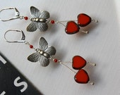 Reserved only for GABBIEGUZ -  Free Shipping in US - Red Hearts with Butterfly Charms Earrings