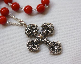 Sterling Silver Celtic Cross, Red Coral Necklace, Large Silver Cross