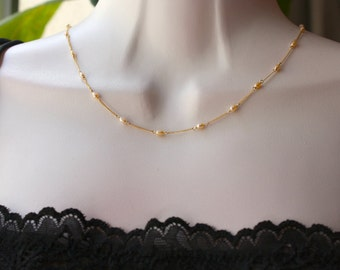 Peach Freshwater Pearls, June Birthstone, Delicate Dainty Gold Necklace, Bridal Jewelry, Bridal Shop, Weddings, Minimalist, for layering
