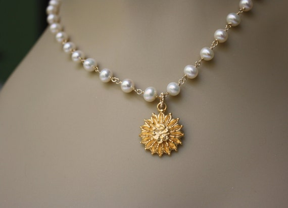 Sale 15 % - enter coupon code - AUGUST15OFF- Marigold Flower and Pearls  Necklace - Summer Fashion, Gifts idea, Weddings