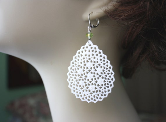 Free Shipping in US - Large White Lace Earrings - Summer Jewelry