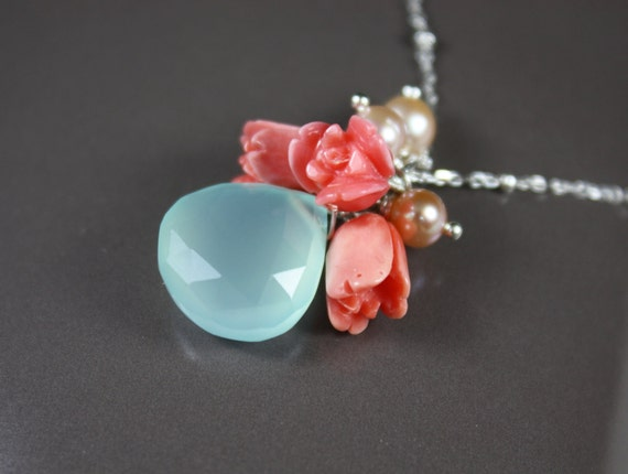 Free Shipping in US - Spring Bouquet Necklace, Coral carved Flowers, Summer accessories,  Beach party