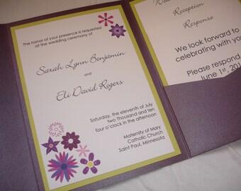 Purple floral pocketfold wedding invitation (SAMPLE)
