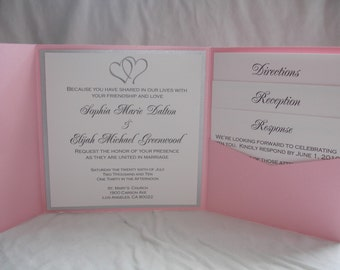 Hearts pocketfold wedding invitation (SAMPLE)