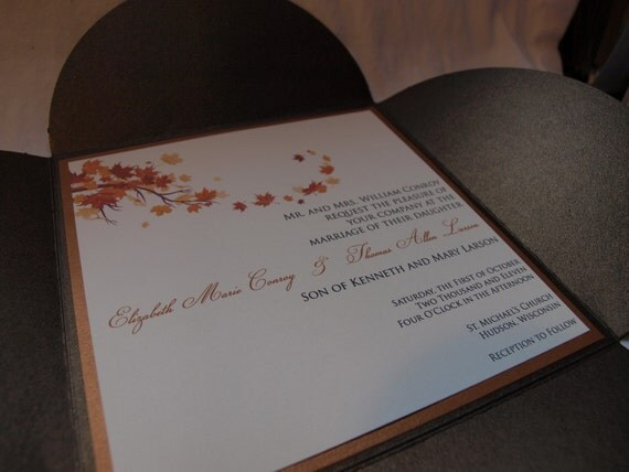 Fall branch leaves petal fold wedding invitation (SAMPLE)