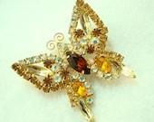 Vintage Butterfly Brooch - Yellow Amber Topaz Aurora Borealis Rhinestone