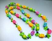 Vintage Neon Plastic Flowers Necklace