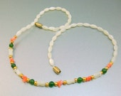 Mother of Pearl Coral Jade Green Bead Necklace