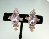 Lilac Rhinestone Earrings Vintage Screw On
