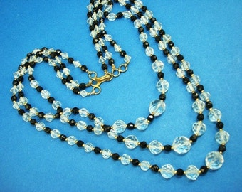 Faceted Crystal Black Glass Bead Necklace