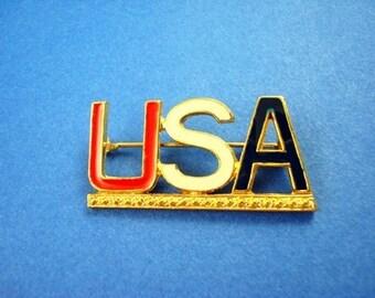 Vintage USA Brooch - Red/White/Blue Enamel