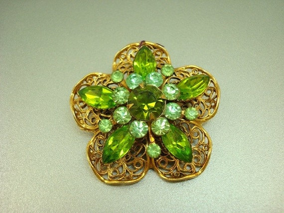 Christmas in July Sale Shades of Green Rhinestone Gold Tone Filigree Flower Pin