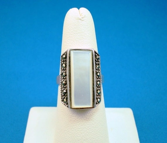 Charles Winston Sterling Mother of Pearl Ring with Marcasites
