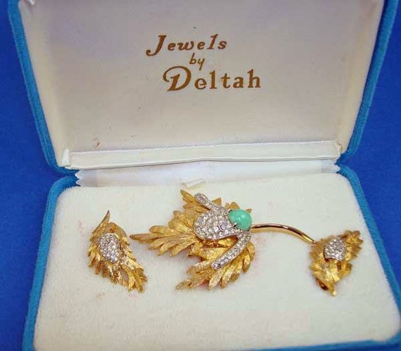 RESERVED for Sherry Buenrosto - JEWELS by DELTAH Rhinestone Faux Jade Pin Earrings Vintage Set