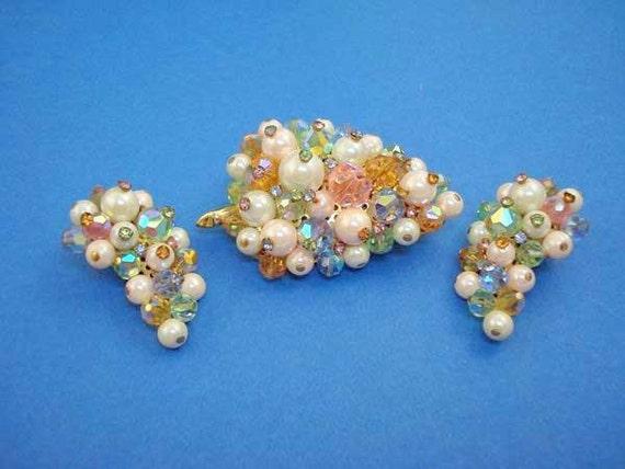 Vintage LAGUNA Brooch Earrings Set - Faux Pearl Pastel Aurora Borealis Crystals