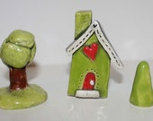 SALE  Clay House in Lime Green