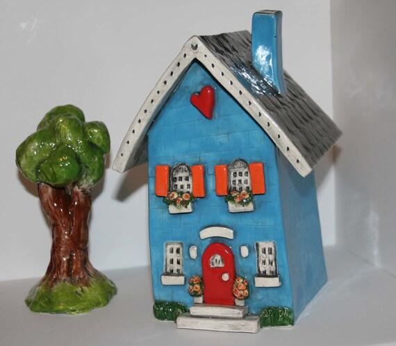 Clay House | Ceramic House | Whimsical House | Cottage Style House | Blue House