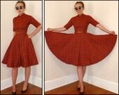 Red Plaid Circle Skirt 50's Day Dress With Internal Crinoline