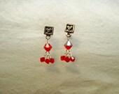 FFD - Stud Heart Lt Siam Earrings
