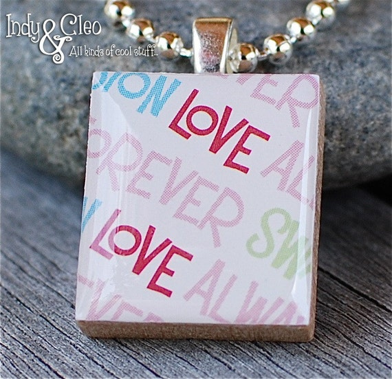 Love Words No.3 LOVE ALWAYS FOREVER Valentine's Day Kids Handmade Scrabble Tile Art Pendant Charm Jewelry Necklace