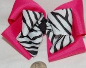 Dark Pink \/ Hot Pink Zebra Stacked Boutique Bow