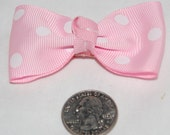 Small Light Pink \/ White Polka Dot Boutique Bow