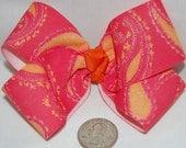 Pink \/ Orange Paisley Boutique Bow