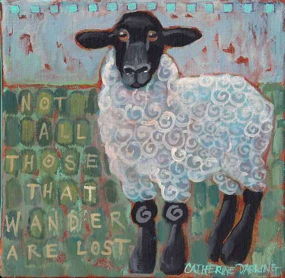 Cyber Monday Sale 20% Off Original painting, miniature mini acrylic painting Sheep Tolkien quote 3x3