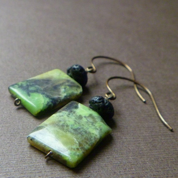 Christmas In July Sale Save 20% -- Mountain Earrings -- Green Turquoise and Black Lava Stone on Antiqued Brass-- babblingbrookes