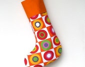 Modern Christmas Stocking - Christmas Balls - Orange Cuff - ready to ship  by speedpost, delivery in 4-5 days