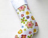 Modern Christmas Stocking - Lime and Red Daisies with White Cuff, ready to ship  by speedpost, delivery in 4-5 days