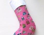 Modern Christmas Stocking - Never Enough Handbags in Pink - ready to ship  by speedpost, delivery in 4-5 days