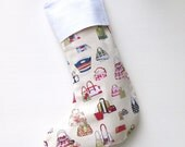 Modern Christmas Stocking - Never Enough Handbags in Cream - ready to ship  by speedpost, delivery in 4-5 days