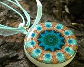 Kaleidoscope Pendant Polymer Clay Necklae Blue Jellyfish