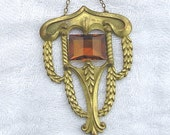 Old Egyptian Revival Amber Gold Pendant Necklace Bar Clasp