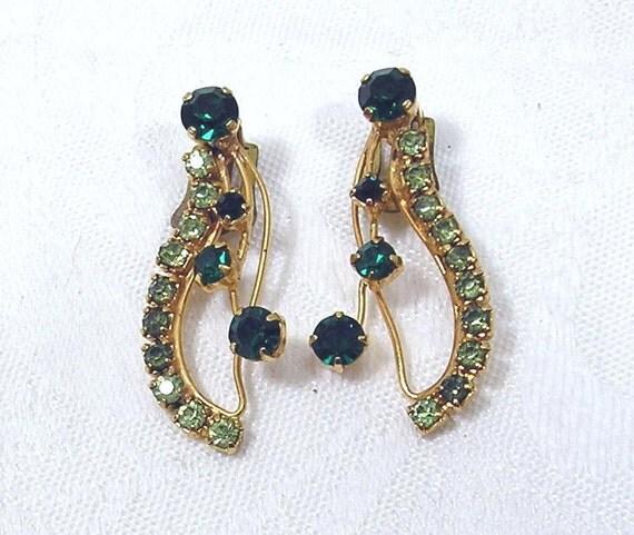 Vintage Rhinestone Earrings Austria Dark Green Light Green Gold