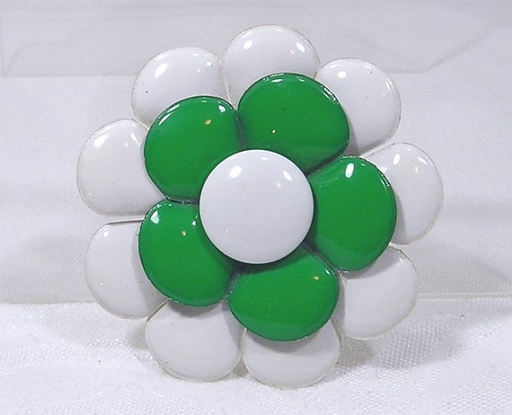 Vintage Hair Decoration Flower Green White 1960's Fab